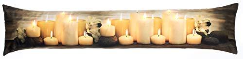 Brandsseller Weihnacht Zugluftstopper LED Beleuchtet 7 LED´s Dekokissen Windstopper 90x20 cm Kerzen Gelb