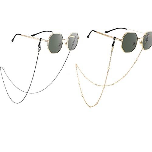 Bohend Moda Cadena de gafas de sol Oro Diamante de imitación Cadena de mascarilla Mujer Los anteojos Cadena Accesorios para gafas de cuentas por Los anteojos Y Máscaras faciales (2 piezas)