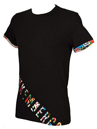 Bikkembergs T-Shirt Uomo Maglietta Manica Corta Girocollo Olympic Print Articolo VBKT04843, 0031 Nero - Black, S