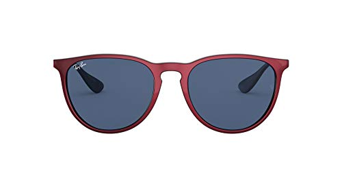 Ray-Ban Women's RB4171F Erika Asian Fit Round Sunglasses, Top Metallic Red On Black/Dark Blue, 54 mm