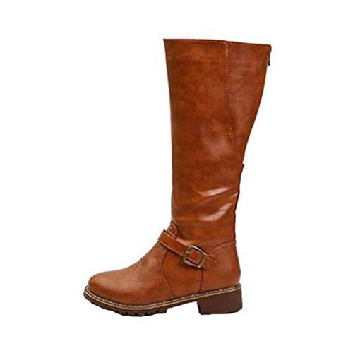 Botas de Montar para Mujer Invierno tacón bajo Plano Informal con Hebilla Cremallera Zapatos de Tubo Largo Impermeables al Aire Libre Botas hasta la Rodilla de Cuero Antideslizantes (Ropa)