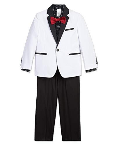 Calvin Klein Boys' Little 4-Piece Formal Suit Set, Multi Black, 7