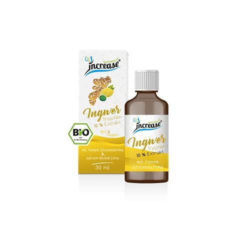 Ingwer Öl 10 % Extrakt Zitrone, hochdosiert mit 3000 mg Bio Ingwer darin enthalten 750 mg Bio Gingerol, Ingweröl mit Curcumen, alle Inhaltsstoffe Bio zertifiziert & vegan,...