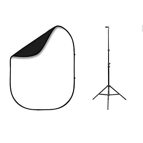 Fovitec - Kit de soporte y fondo de estudio portátil de doble cara para fotografía, vídeo, Youtube, retratos, 1,5 m x 2 m, color blanco y negro