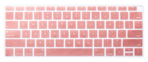 Silicone Keyboard Cover Skin Compatible for 2018 Newest Release MacBook Air 13 inch with Touch ID Model A1932 ( It Doesnt Compatible Old MacBook Air 13 Model A1369 & A1466) (Rose Gold)