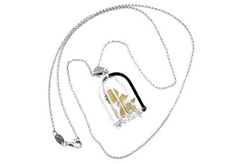 MAGICMOON - VTP10000250 - Collar de mujer de plata 925 rodiada original colgante campana de cristal y rosa 'Bella y la Bestia'