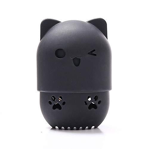 Estuche de silicona portátil de secado de polvo de dibujos animados para licuadora de maquillaje y huevo, estuche para cosméticos (color negro)
