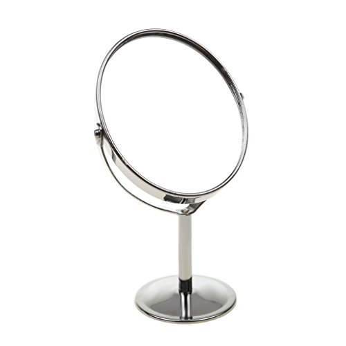 MagiDeal Maquillage à Miroirs de Table Ellipse Métal Miroir Double-face Normal & Grossissant 1x / 2x