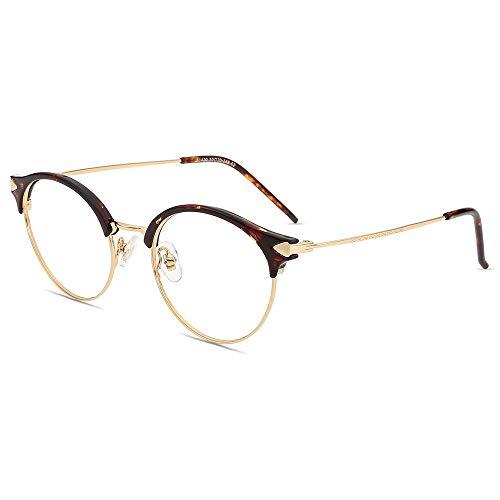 Firmoo Gafas de Lectura con Luz Azul 2.0x para Mujeres y Hombres, Gafas para Computadora, Gafas Redondas sin Deslumbramiento, Resistentes a los Arañazos, Ancho de Marco 133mm, Tortuga