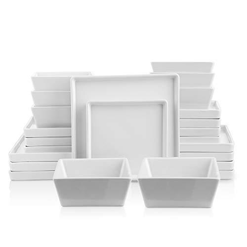 Stone lain Grace Square Stoneware Dinnerware Set 24 Piece Service For 8 White