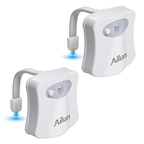 Ailun 2 Stück wasserdicht Toilette Licht WC Nachtlicht LED Lampe Sitz 8 Fabre Beleuchtung Lichtsensor Bewegungssensor Toilettenlicht Toilettenbeleuchtung, für Kinder Badezimmer Hause, Wasserhahnlicht