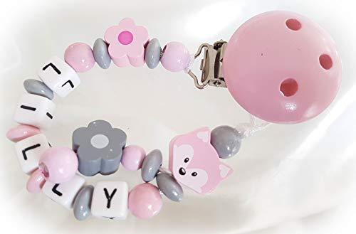 Baby Schnullerkette mit Namen - Fuchs, Mädchen, Wunschnamen, Taufe (Rosa Grau Blume)