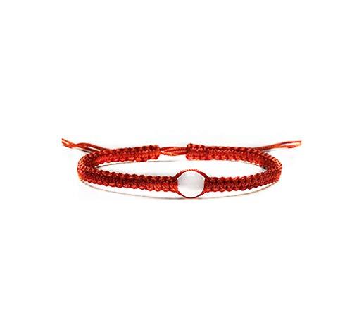 Pulsera de Cuentas de Color Rosa y Rojo de Kabbalah con macramé, Pulsera de Cuentas de Piedra Blanca - Pulsera de Kabbalah roja