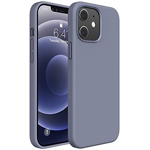Miracase Compatible with iPhone 12 Case,Designed for iPhone 12 Pro Case 6.1 inch(2020),Liquid Silicone Gel Rubber Full Body Protection Shockproof Drop Protection Case(Lavender Gray)