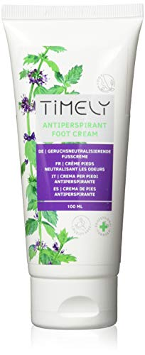 Timely - Crema para pies antitranspirante y refrescante (pack de 4 x 100 ml)