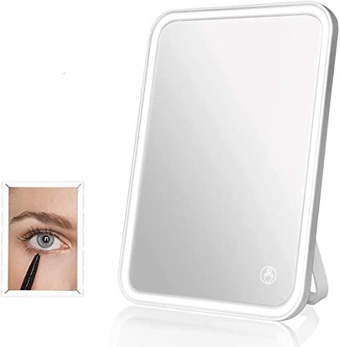 BENMA Kosmetikspiegel mit Touchscreen dimmbaren LED Licht & 5x Klein Vergrößerungsspiegel, 3 wählbaren Farbeinstellungen Beleuchtete Schminkspiegel, USB-wiederaufladbar tragbare Wand Make Up Leuchte