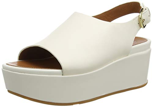 Fitflop Eloise Sandal - City Wedge - Leather, Plateau Donna, Bianco (Ss20 Jet Stream 031), 36 EU