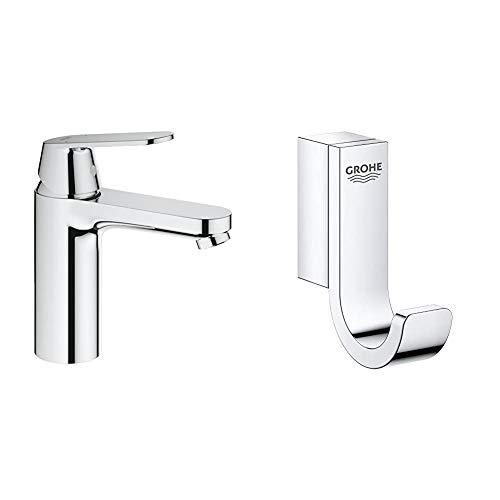 Grohe Eurosmart Cosmopolitan - Grifo de lavabo, tamaño M, 1/2' (Ref. 2339800E) + Grohe Selection - Colgador, cromo (41039000)