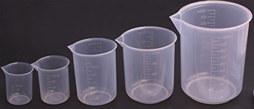 Shapenty 5 Sizes 50ml / 100ml /250ml /500ml /1000ml Capacity Clear Plastic Graduated Measuring Beaker Set Liquid Cup Container, 5PCS