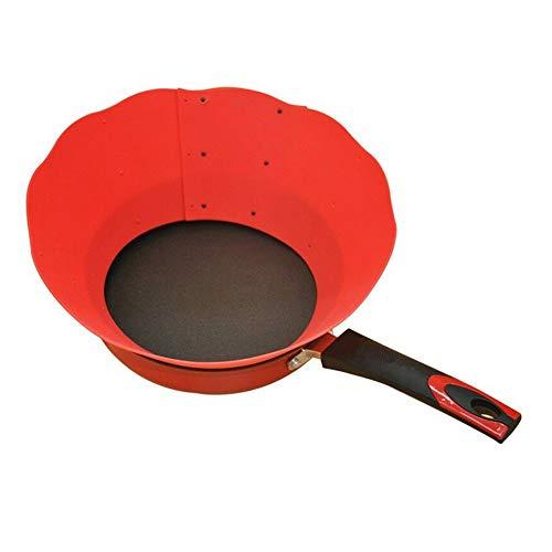 feeilty Fryguard Spritzschutz aus Silikon, antihaftbeschichtet, verstellbar, spritzwassergeschützt, Küchenzubehör, Rot