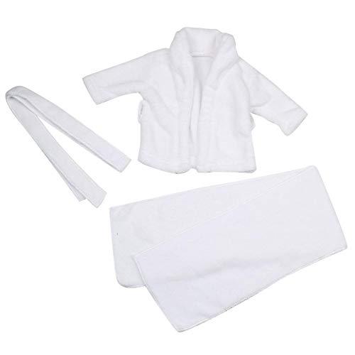 Baby Prop badjas, wit baby fotografie rekwisieten badjas + handdoek pasgeborenen wit met capuchon badhanddoeken shooting fotokostuum 3-6 Months