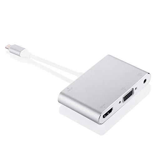 lizeyu Adecuado para iPhone a HDMI VGA HD convertidor de teléfono móvil a HDMI + VGA + convertidor de Audio