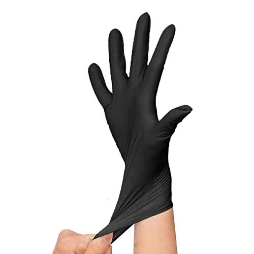 PAYLZWZY 100 StüCke Multifunktionale Hause Silikon Handschuhe Einweg Latex Universal Reinigung Lebensmittel Kosmetik Einweg Handschuhe (schwarz, M)