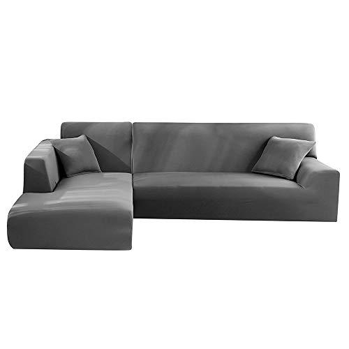 Dandelionsky Sofabezug Sofaüberwürfe für L-Form Sofa elastische Stretch Sofabezug 2er Set für 3 Sitzer + 3 Sitzer(190-230cm) / 4 Sitzer(230-300cm) (Grau, 3 Sitzer + 3 Sitzer)