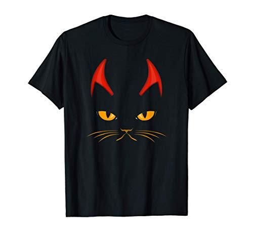 Disfraz de cuernos de diablo de gato aterrador Rock n Roll Camiseta