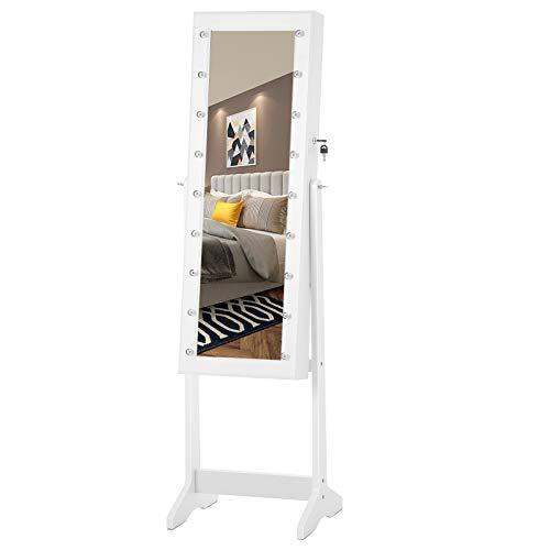 SONGMICS LED Schmuckschrank Standspiegel abschließbar stehend viel Stauraum Winkel Einstellbar Landhausstil Geschenk Weiß JBC81WTV1