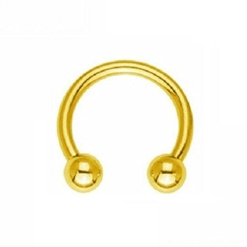 eeddoo Piercing Hufeisen Septum Gold Edelstahl Stärke: 1,2 mm Durchmesser: 9 mm 3 mm