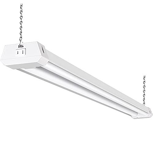 Hykolity 5000K LED Shop Light Linkable, 4FT Daylight 42W LED Ceiling Lights for Garages, Workshops, Basements, Hanging or FlushMount, Power Cord with Built-in ON/Off Switch, 4200lm, ETL- 1 Pack