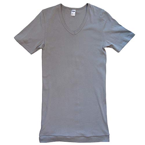 HERMKO 488710 2er Pack Extralanges Herren Kurzarm Shirt +6cm V-Neck mit Bund als Abschluss, Größe:D 10 = EU 4XL, Farbe:grau