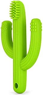 Cactus Baby Teething Toys Toothbrush   Self-Soothing Pain Relief Soft Silicone Teether Training Toothbrush for Babies, Toddlers, Infants, Boy and Girl   Natural Organic BPA Free   0-12 Months   Green