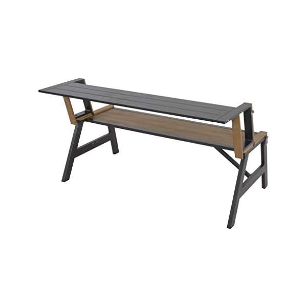 LLiving Kombibank Bank und Tisch in einem Aluminium Polywood Teak 130x89x72 cm