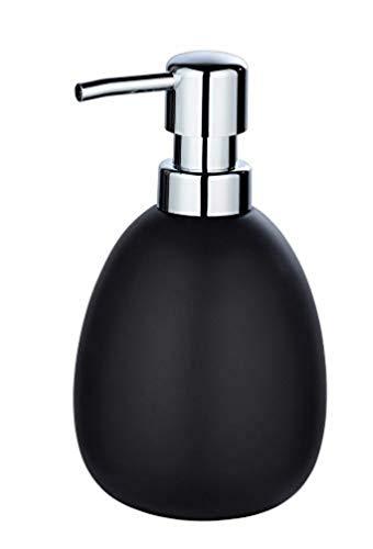 WENKO Seifenspender Polaris, nachfüllbarer Seifendosierer für Flüssigseife und Lotion aus hochwertiger Keramik, 10 x 16,5 x 9,4 cm, Füllmenge 390 ml, Schwarz matt