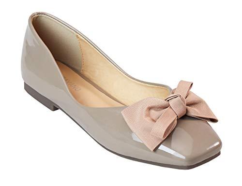 C.PARAVANO Damen Schuhe Ballerinas Schöne Bowknot mit Bequeme Square Toe Ballet Flat Pumps mit Glanzendem Lackleder Slipper.(GRÖSSE 36, Beige)