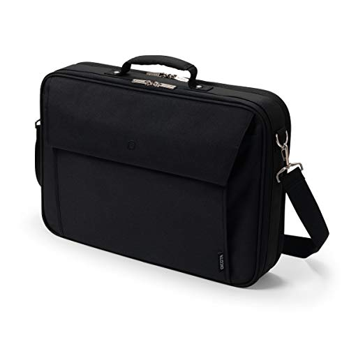 Dicota Multi Plus 15–17,3 Zoll BASE Umhängetasche für Laptop, Computer und Tablet, Leichtgewichtige Aufklappbare Clamshell-Laptoptasche, Schwarz