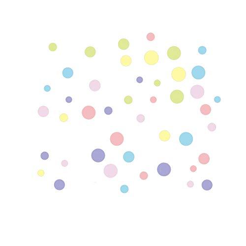 45 pegatinas de pared de lunares de colores surtidos para decoración de hogar, cuarto de guardería, dormitorio, cocina