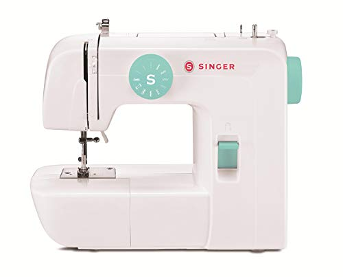 SINGER | Start 1234 Portable Sewing Machine with 6 Built-in Stitches – Built-in 4-Step Buttonhole, White/Teal and Free Online Owner's Class Video (Renewed)