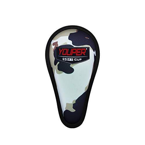 Youper Boys Youth Soft Foam Protective Athletic Cup (Ages 4-6), Kids Sports Cup for Baseball, Football, Lacrosse, MMA (Camo, X-Small)