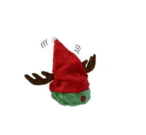 Weihnachtsmütze Rentier-Geweih tanzend mit Musik - Rentiermütze Elchmütze Nikolausmütze