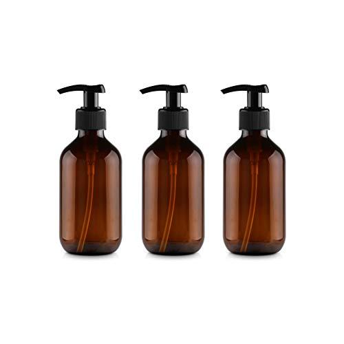 6 Stück 300ml Leeren Bernstein Braun Plastikflaschen Lotionsflaschen Lotionspender mit Pumpe für ätherisches Öl Flüssigseife Shampoo auf der Arbeitsplatte von Bad und Küche Pumpe Drücken Flasche