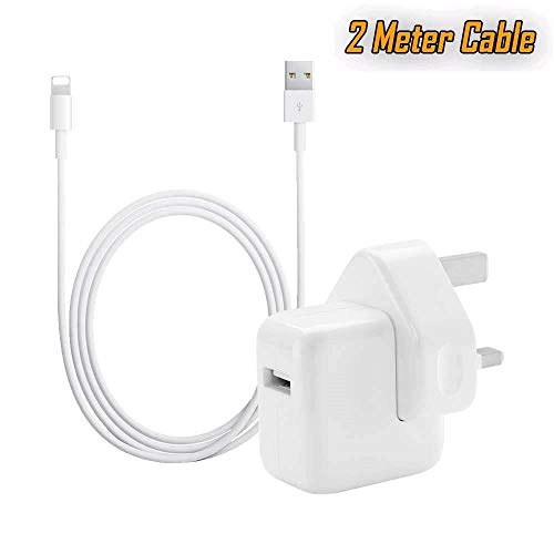 UrbanX 12W USB Power Adapter Charging Plug and 2 Meter USB Cable Compatible With iPad 3/4 iPad Air 1/2 iPad Pro 9.7/10.5/12.9' iPhone XS Max XR X 7 8 Plus Fast Charger for All Smartphones 2.4 Amper