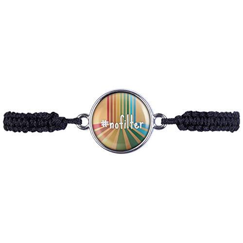Mylery armband met motief hashtag # no filter retro zilver of brons 16 mm