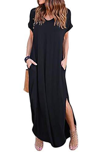 Onsoyours Vestidos Mujer Casual Playa Largos Verano Tie Dye Vestido Boho Impresión Hendidura Bolsillo Falda Larga Maxi Vestido Playeros D Negro 42