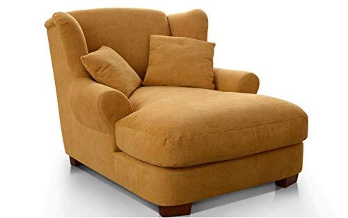 CAVADORE XXL-Sessel Oasis / Großer Polstersessel im modernen Design / Inkl. 2 schöne Zierkissen / 120 x 99 x 145 / Webstoff in mustard