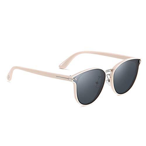 YNJZ Gafas de sol polarizadas redondas Mujeres Hombres Diseño de marca de lujo Gafas de sol de conducción de moda para gafas de sol de mujer para hombres, C2Creamy, blanco