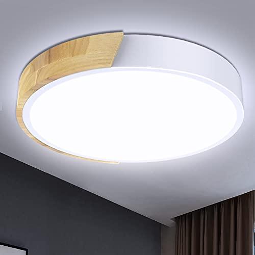 Kambo LED Lámpara de Techo 24W Blanco Moderna Redondo, Plafón Techo Led Blanco Frío 6000K 2400LM Para Pasillo Cocina Sala de Estar Dormitorio Comedor Balcón Habitacion