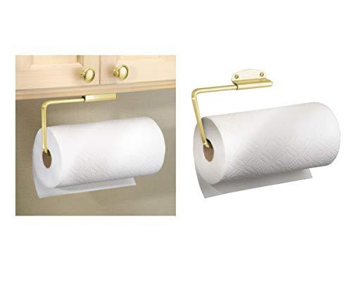 iDesign Forma keukenrolhouder, wandgemonteerde keukenhanddoekhouder, metaal, gekleurd goud/messing